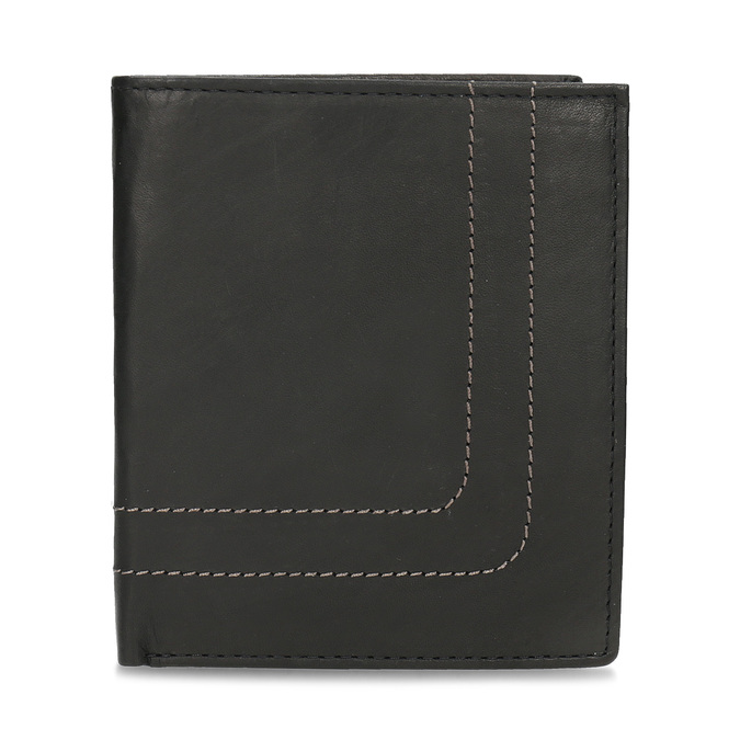 Leather wallet with quilting bata, brown , 944-6148 - 26