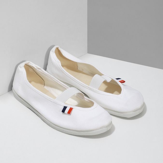 Kids' gym shoes bata, white , 379-1001 - 26