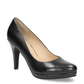 Black leather pumps insolia, black , 724-6104 - 13