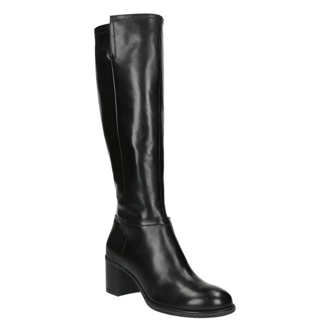 Ladies' high boots on a stable heel bata, black , 694-6361 - 13