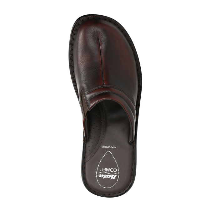 Men's leather slippers comfit, brown , 874-4600 - 19