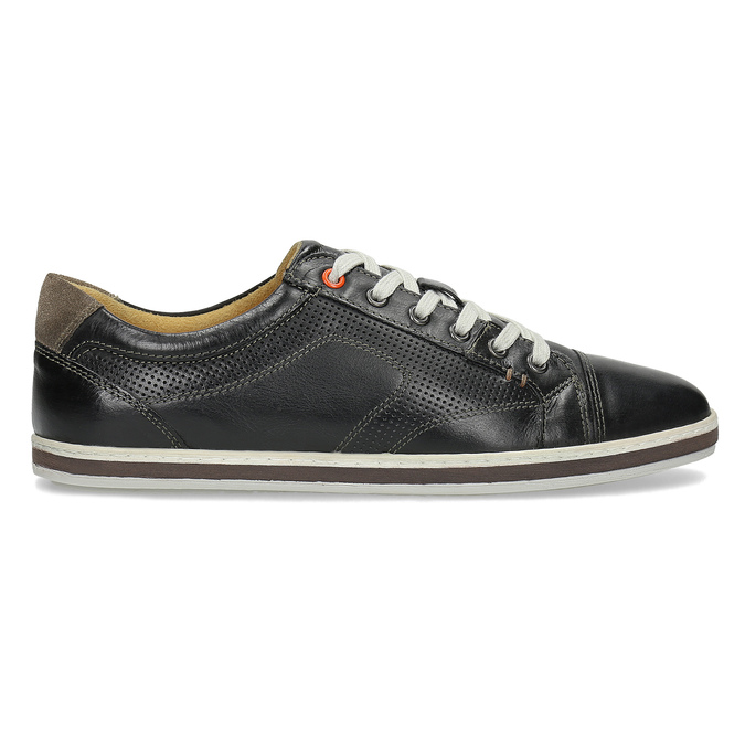 Men's leather sneakers bata, black , 846-6617 - 19
