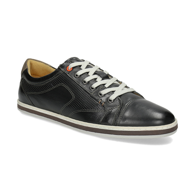 Men's leather sneakers bata, black , 846-6617 - 13