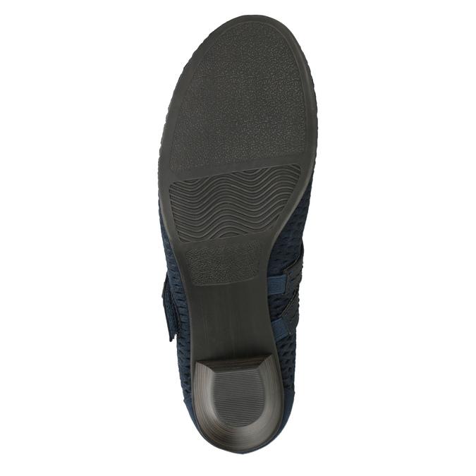 Blue leather pumps width H bata, blue , 623-9600 - 17