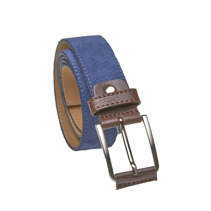 Men's leather belt with perforations bata, blue , 953-9325 - 13