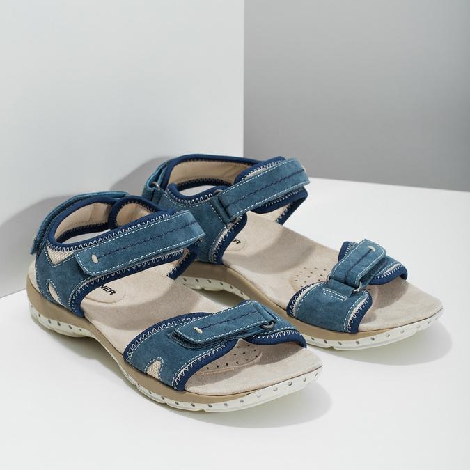 Ladies' leather sandals weinbrenner, blue , 566-9608 - 26