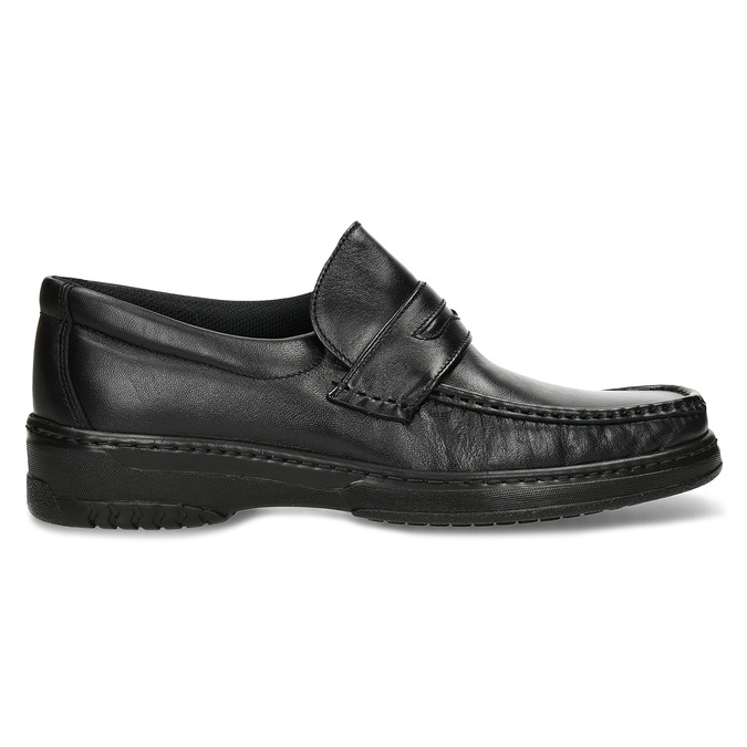 Men's leather moccasins with stitching pinosos, black , 814-6624 - 19