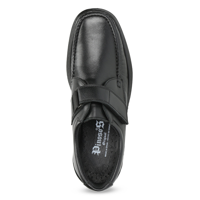 Men's leather shoes with Velcro pinosos, black , 824-6543 - 17