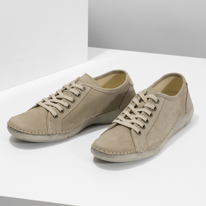 Casual leather low shoes weinbrenner, beige , 546-2603 - 16