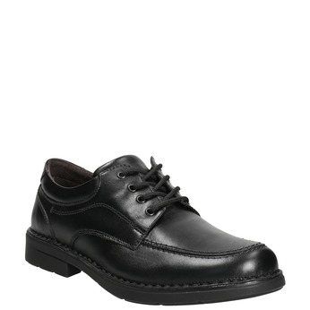Casual leather shoes with stitching comfit, black , 824-6987 - 13