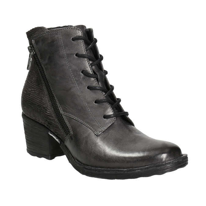 Ladies' leather ankle boots bata, gray , 696-2627 - 13