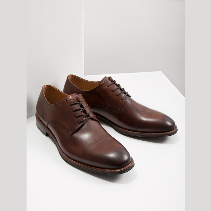 Men's brown leather shoes bata, brown , 826-4681 - 18