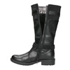 Black Girls' Leather High Boots mini-b, black , 391-6655 - 26