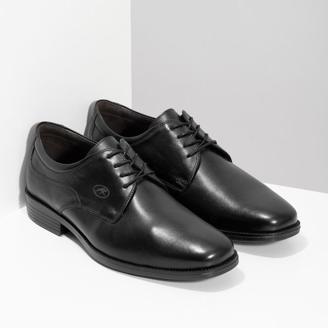 Men's Leather Derby Shoes fluchos, black , 824-6440 - 26