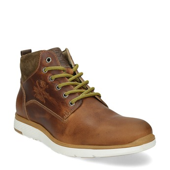 Men's leather ankle boots bata, brown , 846-3645 - 13