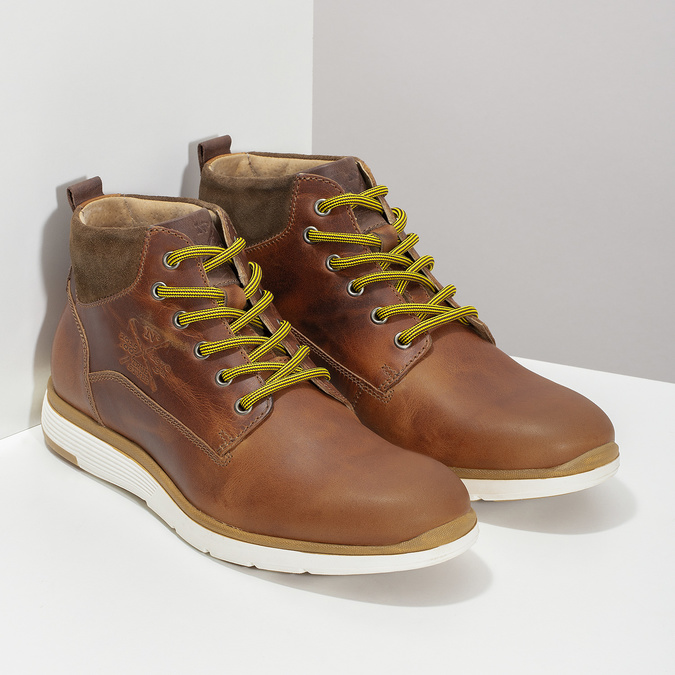 Men's leather ankle boots bata, brown , 846-3645 - 26