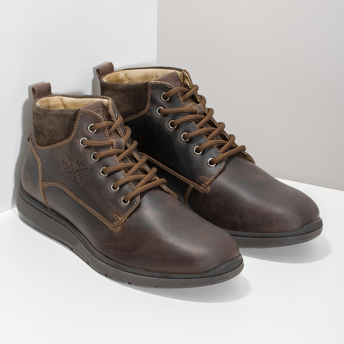 Men's leather ankle boots bata, brown , 846-4645 - 26