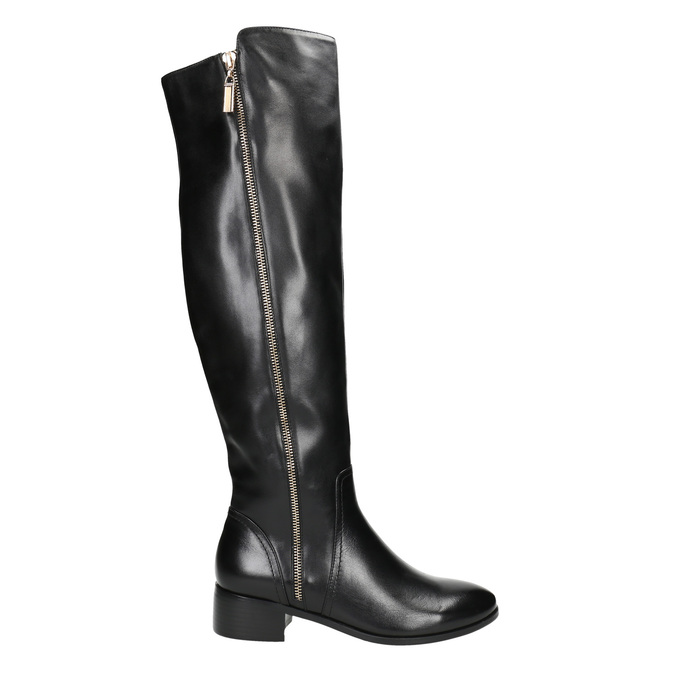 Ladies' leather high boots with zip bata, black , 594-6653 - 15