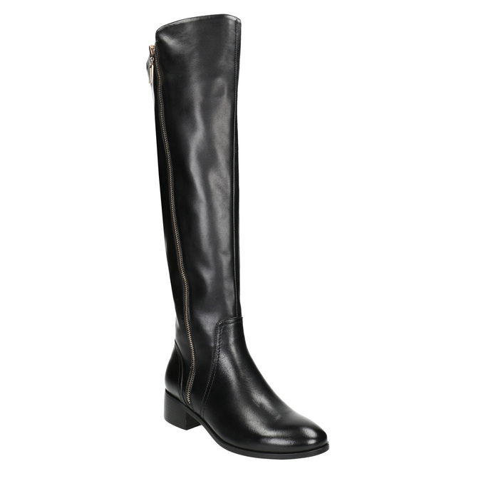 Ladies' leather high boots with zip bata, black , 594-6653 - 13