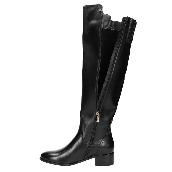 Ladies' leather high boots with zip bata, black , 594-6653 - 26