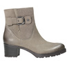 Leather ankle boots with a buckle bata, beige , 696-2621 - 15