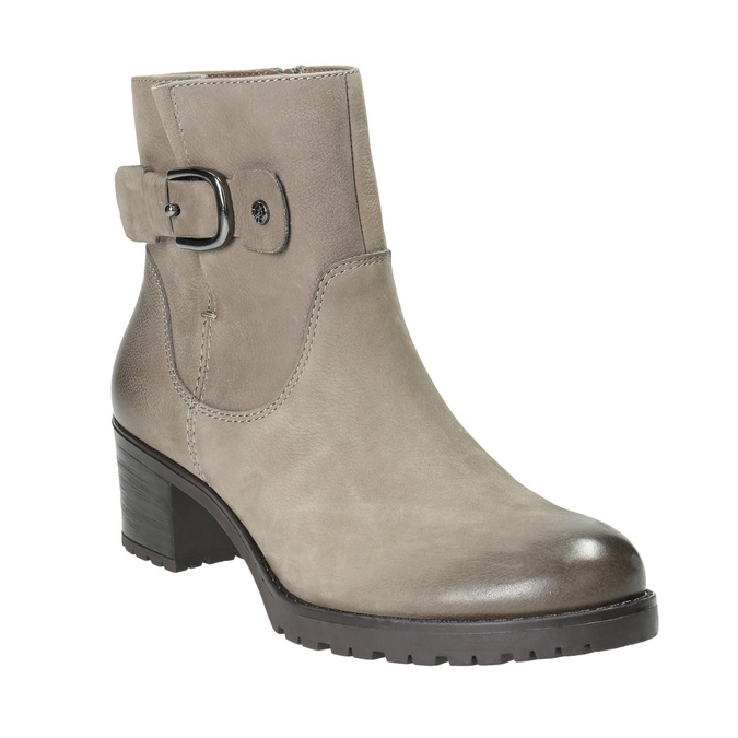Leather ankle boots with a buckle bata, beige , 696-2621 - 13