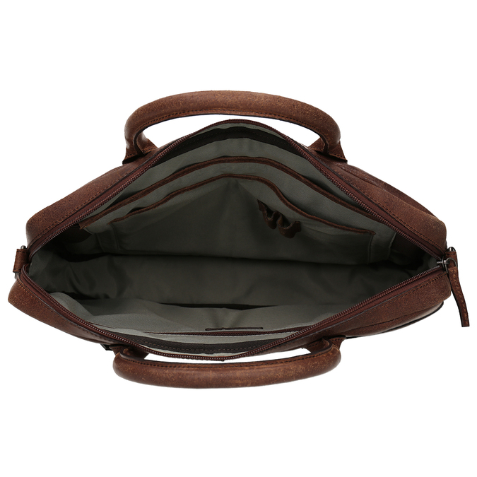 Men's leather bag with stitching bata, brown , 964-4139 - 15