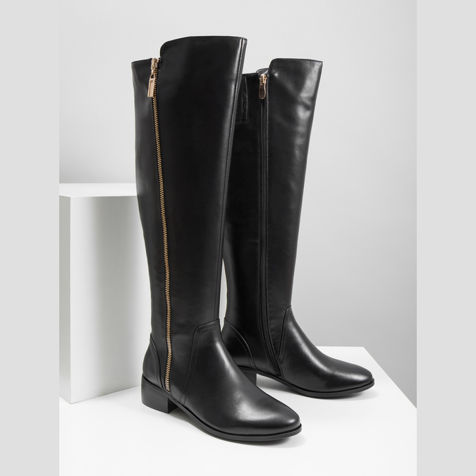 Ladies' leather high boots with zip bata, black , 594-6653 - 18