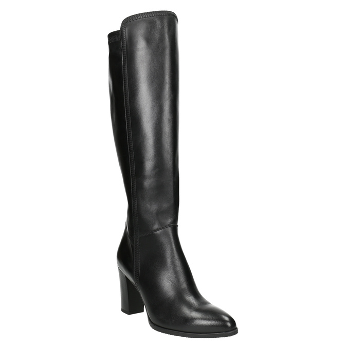 Leather heeled high boots bata, black , 794-6356 - 13