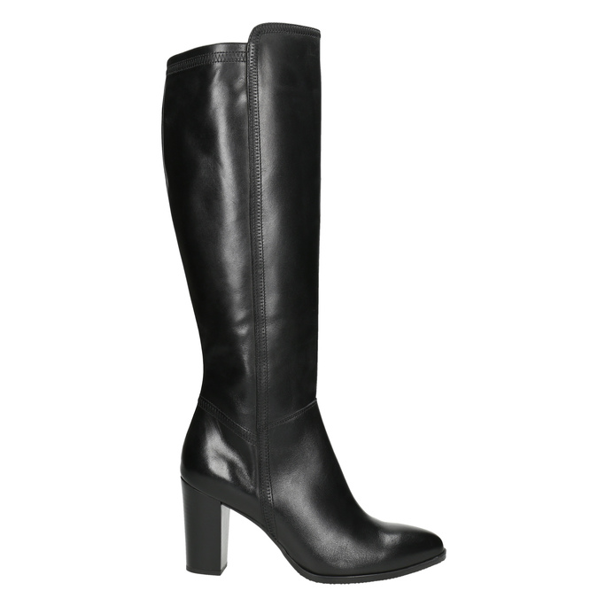 Leather heeled high boots bata, black , 794-6356 - 15