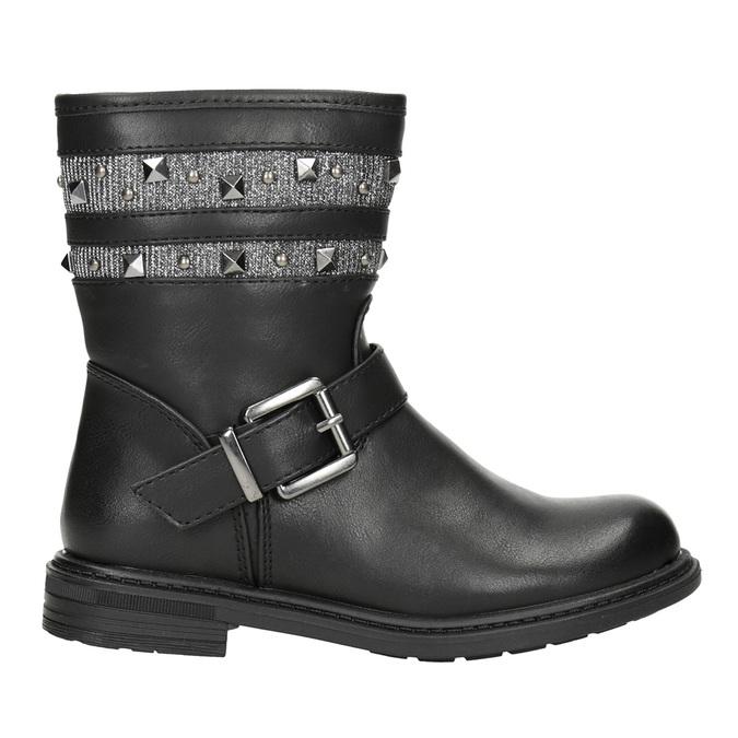 Girls' High Boots with Studs mini-b, black , 291-6398 - 26