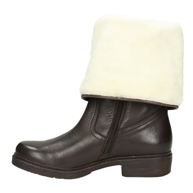 Ladies' Insulated Leather High Boots manas, brown , 593-3609 - 15