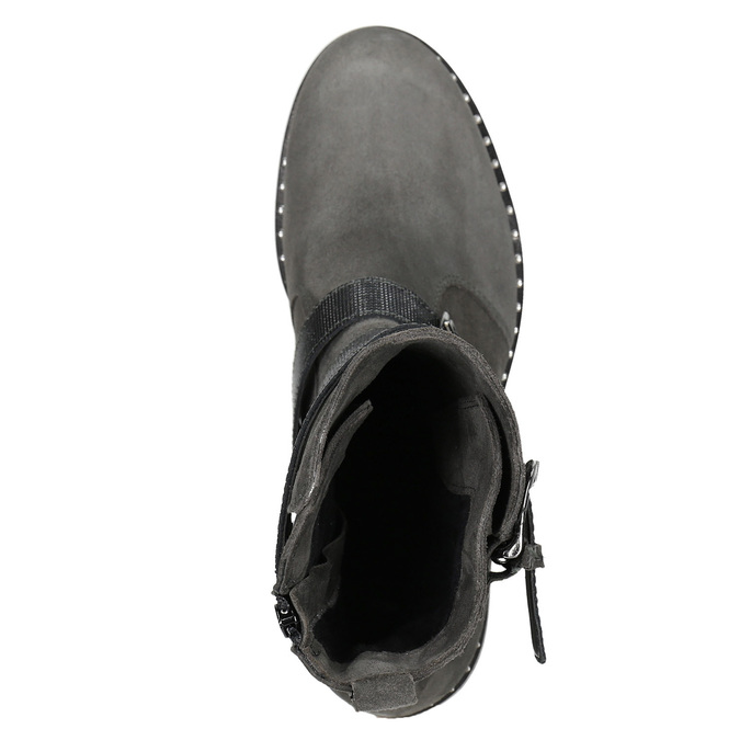 Ladies' high boots with buckles bata, gray , 593-2610 - 15