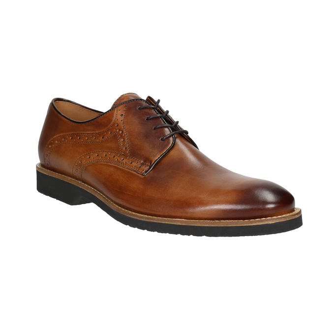 Men's leather Brogue shoes conhpol, brown , 826-3921 - 13