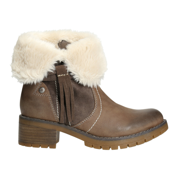 Ankle Boots with Fleece bata, brown , 691-2633 - 15