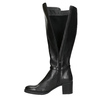 Leather Ladies' High Boots with Sturdy Heel bata, black , 694-6637 - 26