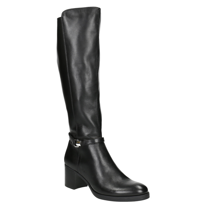 Leather Ladies' High Boots with Sturdy Heel bata, black , 694-6637 - 13