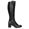Leather Ladies' High Boots with Sturdy Heel bata, black , 694-6637 - 15