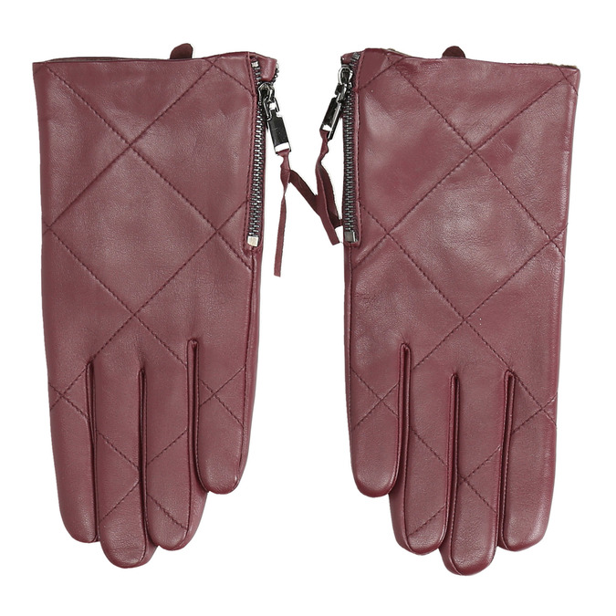 Burgundy leather gloves with zip bata, red , 904-5108 - 26