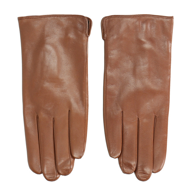 Brown leather gloves bata, brown , 904-3129 - 26