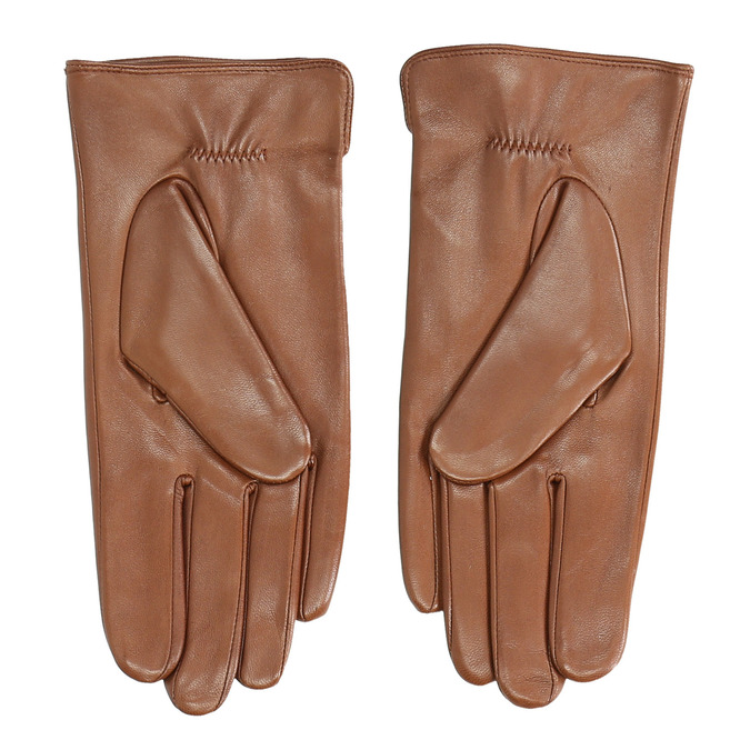 Brown leather gloves bata, brown , 904-3129 - 16