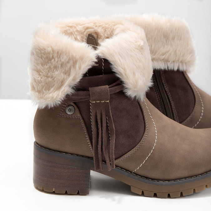 Ankle Boots with Fleece bata, brown , 691-2633 - 14