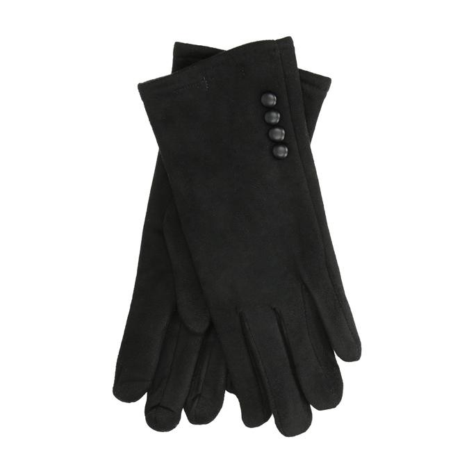 Ladies' textile gloves bata, black , 909-6612 - 13