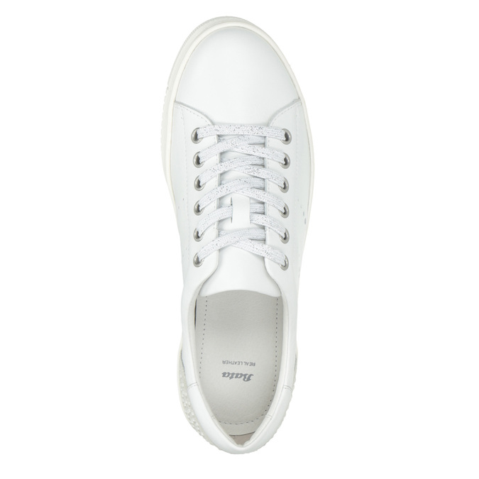 Ladies' leather casual sneakers bata, white , 544-1606 - 15