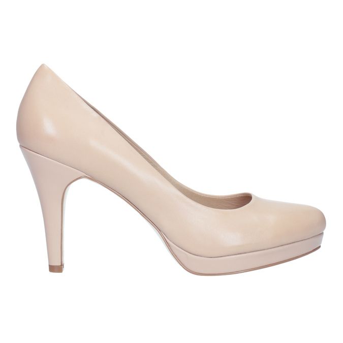 Pinkish cream-colored leather pumps insolia, beige , 724-2104 - 26