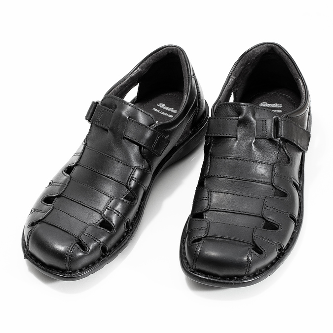 Men's black leather sandals bata, black , 864-6600 - 16