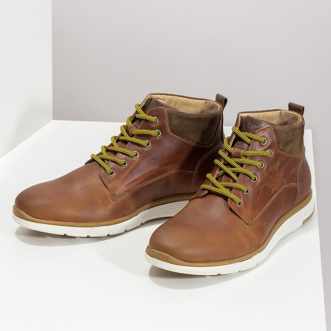 Men's leather ankle boots bata, brown , 846-3645 - 16