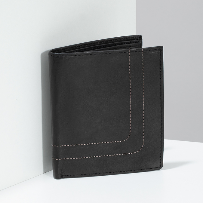 Leather wallet with quilting bata, brown , 944-6148 - 17