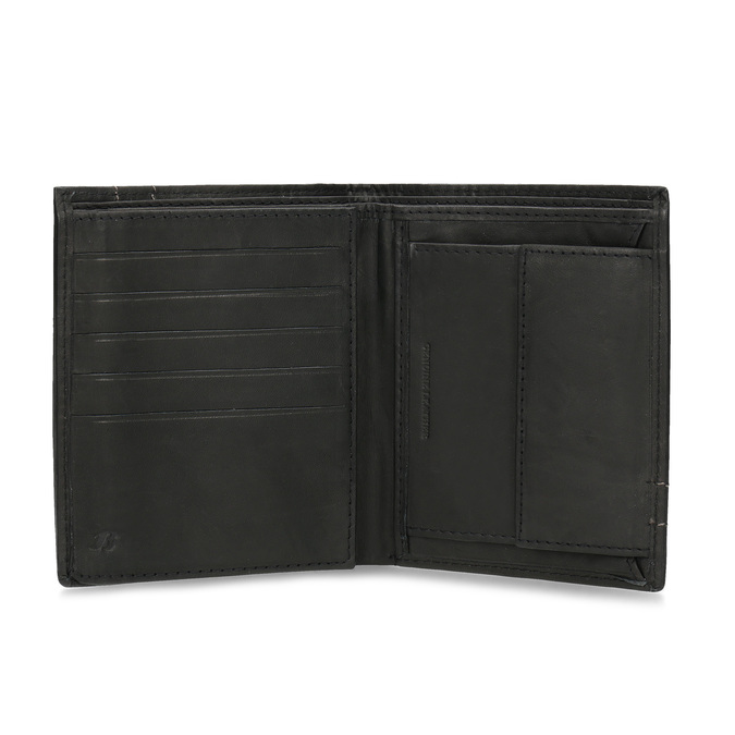 Leather wallet with quilting bata, brown , 944-6148 - 15